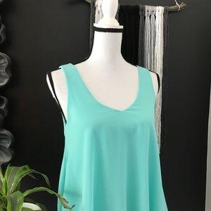 Anthro. E (hanger) M teal flowy tank blouse S
